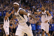 Jason Terry #31 of the Dallas Mavericks reacts after he made a 3-point shot late in the fourth quarter against the Miami Heat in Game Five of the 2011 NBA Finals at American Airlines Center on June 9, 2011 in Dallas, Texas.  NOTE TO USER: User expressly acknowledges and agrees that, by downloading and/or using this Photograph, user is consenting to the terms and conditions of the Getty Images License Agreement.