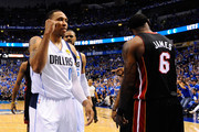 Shawn Marion #0 of the Dallas Mavericks reacts against LeBron James #6 of the Miami Heat in the first half of Game Five of the 2011 NBA Finals at American Airlines Center on June 9, 2011 in Dallas, Texas.  NOTE TO USER: User expressly acknowledges and agrees that, by downloading and/or using this Photograph, user is consenting to the terms and conditions of the Getty Images License Agreement.