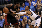 LeBron James #6 of the Miami Heat looks to pass against Shawn Marion #0 of the Dallas Mavericks in Game Five of the 2011 NBA Finals at American Airlines Center on June 9, 2011 in Dallas, Texas.  NOTE TO USER: User expressly acknowledges and agrees that, by downloading and/or using this Photograph, user is consenting to the terms and conditions of the Getty Images License Agreement.