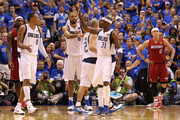 Shawn Marion #0, Tyson Chandler #6 and Jason Terry #31 of the Dallas Mavericks react against LeBron James #6 (L) and Mike Bibby #0 of the Miami Heat in Game Three of the 2011 NBA Finals at American Airlines Center on June 5, 2011 in Dallas, Texas.  NOTE TO USER: User expressly acknowledges and agrees that, by downloading and/or using this Photograph, user is consenting to the terms and conditions of the Getty Images License Agreement.