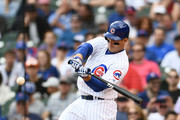 Anthony Rizzo #44 of the Chicago Cubs hits a three run home run against the Miami Marlins during the third inning of a game at Wrigley Field on May 9, 2018 in Chicago, Illinois.