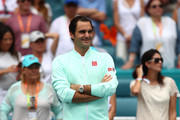 Roger Federer of Switzerland in looks on after defeating John Isner of USA in the final during day fourteen of the Miami Open tennis on March 31, 2019 in Miami Gardens, Florida.