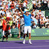 Novak Djokovic of Serbia celebrates to the crowd after his three set victory against Andy Murray of Great Britain in the mens final during the Miami Open Presented by Itau at Crandon Park Tennis Center on April 5, 2015 in Key Biscayne, Florida.