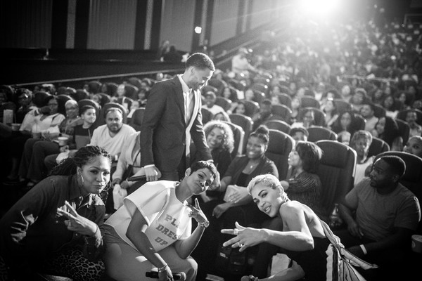'The Intruder' Atlanta Red Carpet Screening With Michael Ealy, Meagan Good, And Deon Taylor At Regal Atlantic Station [image,crowd,people,audience,photograph,event,monochrome,black-and-white,performance,photography,style,meagan good,deon taylor,michael ealy,trina braxton,rashan ali,l-r,regal atlantic station,atlanta,intruder atlanta red carpet screening with michael ealy]