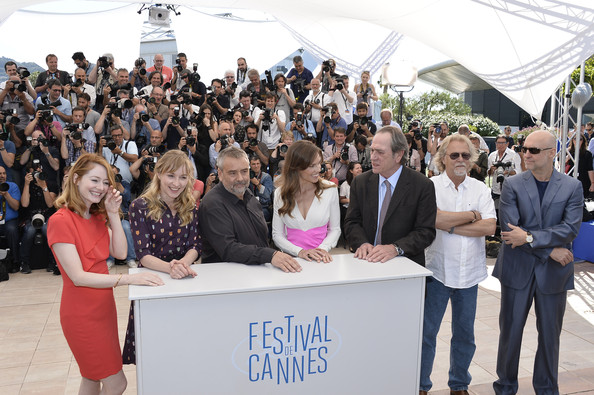 """""""The Homesman"""" Photocall - The 67th Annual Cannes Film Festival [the homesman photocall,people,event,crowd,community,team,audience,tourism,employment,miranda otto,luc besson,actors,producers,hilary swank,sonja richter,l-r,photocall,cannes film festival]"""