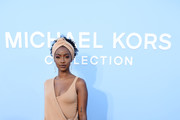 Justine Skye poses backstage during the Michael Kors Collection Spring 2020 Runway Show on September 11, 2019 in Brooklyn City.