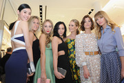 (L-R) Ming Xi, Alexandra Richards, Harley Viera-Newton, Leigh Lezark, Poppy Delevingne, Hanneli Mustaparta and Jessica Hart attend the Michael Kors Miranda Eyewear Collection Event on February 18, 2015 in New York City.