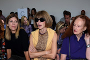 (L-R) Virginia Smith, Anna Wintour, and Grace Coddington attend the Michael Kors Spring 2016 Runway Show during New York Fashion Week: The Shows at Spring Studios on September 16, 2015 in New York City.