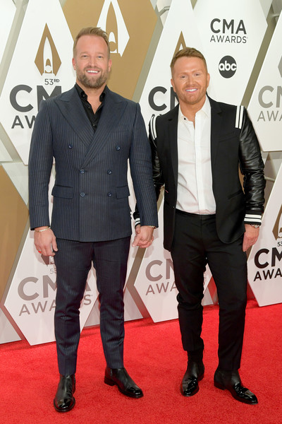The 53rd Annual CMA Awards - Arrivals [carpet,red carpet,premiere,suit,event,flooring,white-collar worker,tuxedo,arrivals,shane mcanally,michael mcanally baum,cma awards,nashville,tennessee,music city center]