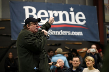 Michael Moore New Hampshire Residents Watch Final Debate Before Primary Election
