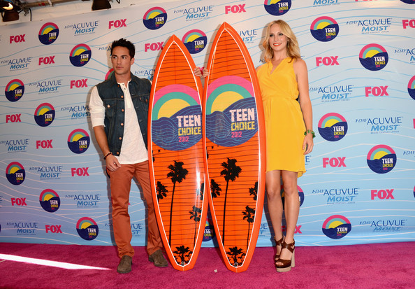 Michael Trevino Actors Michael Trevino and Candice Accola, winners of Choice Fantasy/Sci-Fi Show award, pose in the press room during the 2012 Teen Choice Awards at Gibson Amphitheatre on July 22, 2012 in Universal City, California.
