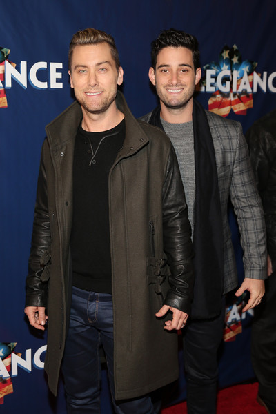 'Allegiance' Broadway Opening Night - Arrivals & Curtain Call [premiere,event,jacket,outerwear,muscle,leather,leather jacket,facial hair,smile,fictional character,lance bass,michael turchin,allegiance,curtain call,red carpet,new york city,the longacre theatre,broadway,opening night - arrivals]