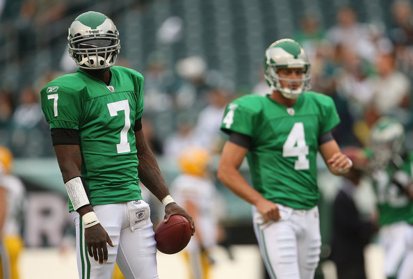 Michael Vick Michael Vick #7 of the Philadelphia Eagles warms up before a game against the Green Bay Packers during the NFL season opener at Lincoln Financial Field on September 12, 2010 in Philadelphia, Pennsylvania.
