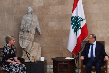 Michel Aoun The Countess Of Wessex Visits Lebanon