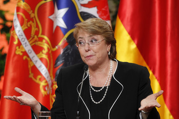 Michelle Bachelet German President Joachim Gauck on Official Visit to Chile