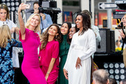 Karlie Kloss, Zendaya, Freida Pinto, and Michelle Obama take a selfie during NBC's 'Today' Celebrates The International Day Of The Girl at Rockefeller Plaza on October 11, 2018 in New York City.