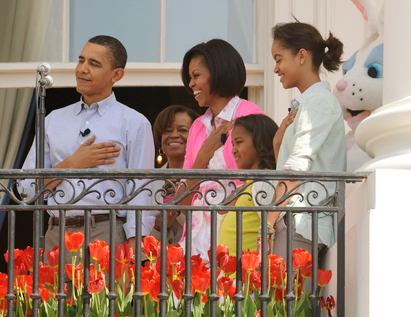 President And Mrs. Obama Host Easter Egg Roll On White House Lawn [plant,event,tulip,floristry,flower,happy,child,obama,president,barack obama,marian robinson,rutherford b. hayes,daughters,easter egg roll,afp out,white house lawn,white house]