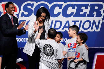 Ed Foster-Simeon Michelle Obama Visits Soccer Clinic As Part Of Anti-Obesity Campaign