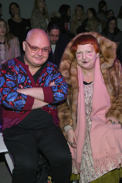 Anna Sui - Front Row - February 2018 - New York Fashion Week: The Shows [shows,people,fashion,event,human,fur,fun,fashion design,outerwear,glasses,performance,anna sui,lynn yaeger,mickey boardman,front row,gallery i,new york city,spring studios,the shows,new york fashion week]