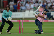 John Simpson of Middlesex hits a six during the Vitality T20 Blast match between Middlesex and Surrey at Lord's Cricket Ground on July 5, 2018 in London, England.