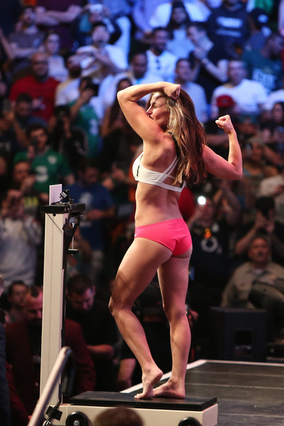 UFC 196 Weigh-in [bikini,competition,swimwear,leg,event,muscle,model,performance,thigh,performing arts,miesha tate,scale,las vegas,nevada,mgm grand garden arena,ufc 196]