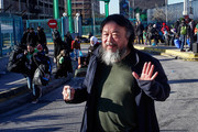 Chinese Contemporary artist and activist Ai Weiwei is pictured in the port of Piraeus on February 22, 2016 in Athens Greece. Several thousand migrants have been stranded at the port and at the country's border with Macedonia, where authorities at the weekend closed the border to Afghan migrants.
