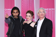 """Jury digital Canneseries members Adi Shankar, Jessica Barden and Ed Solomon attend """"Miguel"""" and """"Undercover"""" screening during the 1st Cannes International Series Festival at Palais des Festivals on April 10, 2018 in Cannes, France."""