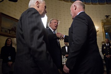 Mike Pence Trump Hosts the Inaugural Law Enforcement Officers and First Responders Reception at the White House