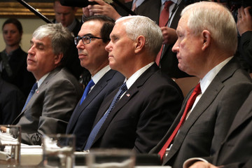 Mike Pence President Trump Hosts Cabinet Meeting At The White House