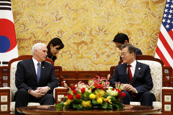 U.S. Vice President Mike Pence Visits South Korea [event,news conference,official,speech,government,management,conversation,speaker,spokesperson,businessperson,mike pence,moon jae-in,r,u.s.,south korea,cheong wa dae,seoul,blue house,l,meeting]