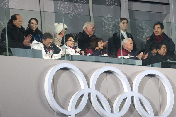 U.S. Vice President Mike Pence Visits South Korea - Day 2 [event,team,businessperson,mike pence,kim yo-jong,kim jong-un,shinzo abe,moon jae-in,front row,south korea,u.s.,pyeongchang winter olympics,opening ceremony]