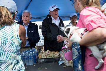 Mike Pence President Trump and Melania Trump Tour a Neighborhood Affected by Hurricane Irma in Naples