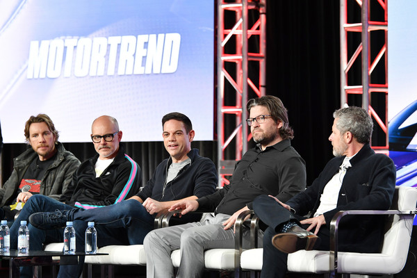 2020 Winter TCA Tour - Day 10 [top gear america,event,team,design,company,convention,management,business,news conference,conversation,collaboration,rob corddry,dax shepard,travis shakespeare,mike suggett,jethro bovingdon,l-r,pasadena,winter tca,segment,dax shepard,hank azaria,stock photography,top gear america,photography,top gear,photograph,image,getty images]
