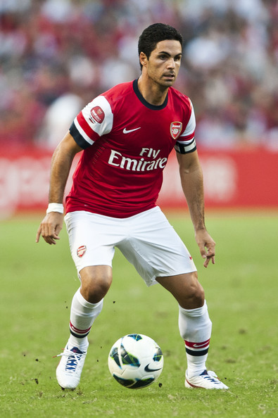 Mikel Arteta Mikel Arteta of Arsenal FC in action during the pre-season Asian Tour friendly match between Kitchee FC and Arsenal at Hong Kong Stadium on July 29, 2012 in Hong Kong.