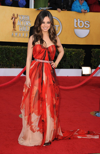 17th Annual Screen Actors Guild Awards - Arrivals [flooring,carpet,beauty,fashion model,red carpet,girl,fashion,gown,long hair,model,arrivals,mila kunis,screen actors guild awards,california,los angeles,the shrine auditorium,17th annual screen actors guild awards]