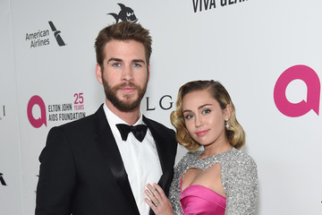 Miley Cyrus Liam Hemsworth 26th Annual Elton John AIDS Foundation Academy Awards Viewing Party sponsored by Bulgari, celebrating EJAF and the 90th Academy Awards - Red Carpet