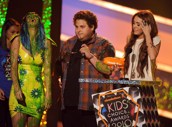 Nickelodeon's 23rd Annual Kids' Choice Awards - Show [musician,music artist,entertainment,music,performance,song,stage,guitarist,singing,performing arts,katy perry,jonah hill,miley cyrus,favorite movie actress,pauley pavilion,california,los angeles,nickelodeon,annual kids choice awards,show]