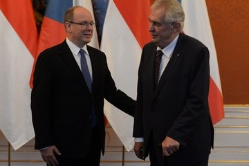 Milos Zeman Prince Albert of Monaco Visits Prague