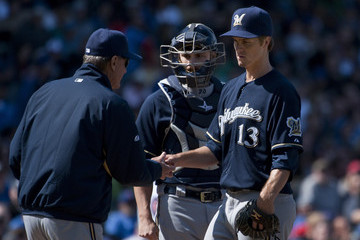 Ron Roenicke Jonathan Lucroy Milwaukee Brewers v Chicago Cubs