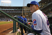Anthony Rizzo #44 of the Chicago Cubs waits to enter the field of play  before a game against the Milwaukee Brewers at Wrigley Field on September 11, 2018 in Chicago, Illinois.