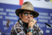 """Johnny Depp attends the """"Minamata"""" press conference during the 70th Berlinale International Film Festival Berlin at Grand Hyatt Hotel on February 21, 2020 in Berlin, Germany."""