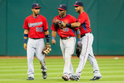Outfielders Eddie Rosario #20 Torii Hunter #48 and Aaron Hicks #32 of the Minnesota Twins celebrate after the Twins defeated the Cleveland Indians at Progressive Field on August 7, 2015 in Cleveland, Ohio. The Twins defeated the Indians 10-9.