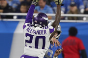 Mackensie Alexander #20 of the Minnesota Vikings tries to block a pass from Matthew Stafford #9 of the Detroit Lions during an NFL game at Ford Field on November 23, 2016 in Detroit, Michigan.