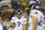 Quarterback Christian Ponder #7 of the Minnesota Vikings warms up prior to the NFL game against the Green Bay Packers on October 02, 2014 at Lambeau Field in Green Bay, Wisconsin.