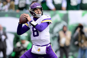 Kirk Cousins #8 of the Minnesota Vikings looks to pass during the second quarter against the New York Jets at MetLife Stadium on October 21, 2018 in East Rutherford, New Jersey.