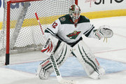 Goaltender Niklas Backstrom #32 of the Minnesota Wild warms up prior to the game against the Florida Panthers at the BB&T Center on November 24, 2014 in Sunrise, Florida.
