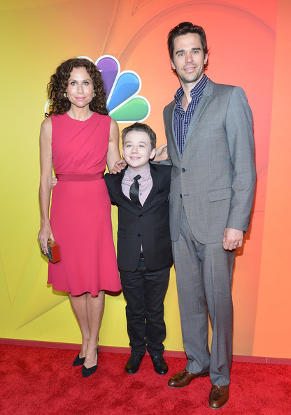 NBC Upfront Presentation [suit,event,fashion,formal wear,carpet,premiere,fun,flooring,dress,magenta,minnie driver,david walton,benjamin stockham,presentation,l-r,upfront presentation,new york city,the jacob k. javits convention center,nbc]