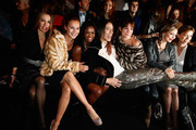 (L-R) Caroline Beil, Motsi Mabuse, Jorge Gonzalez, Alexandra Kamp, Regina Halmich and Tina Ruland attend the Minx by Eva Lutz show during Mercedes-Benz Fashion Week Autumn/Winter 2014/15 at Brandenburg Gate on January 15, 2014 in Berlin, Germany.