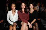(L-R) Ursula Karven, Natalia Woerner and Anja Kling attend the Minx by Eva Lutz show during the Mercedes-Benz Fashion Week Berlin Autumn/Winter 2015/16 at Brandenburg Gate on January 20, 2015 in Berlin, Germany.