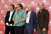 """(L-R) Producer Tarek Ben Ammar, director Julian Schnabel, producers Jerome Seydoux and Jon Kilik attend the """"Miral """" photocall during the 67th Venice Film Festival at the Palazzo del Casino on September 2, 2010 in Venice, Italy."""